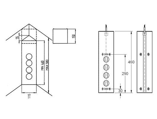 thebo st3007 ecksteckdose edelstahl steckdosenelement. Black Bedroom Furniture Sets. Home Design Ideas
