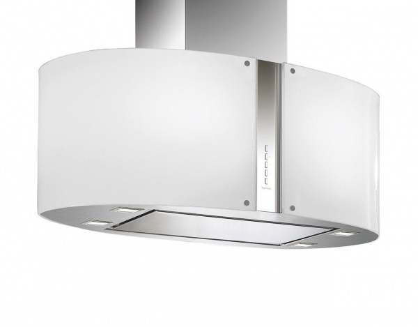 Falmec Pharo LED 67 cm Wandhaube in Weiß-Glas