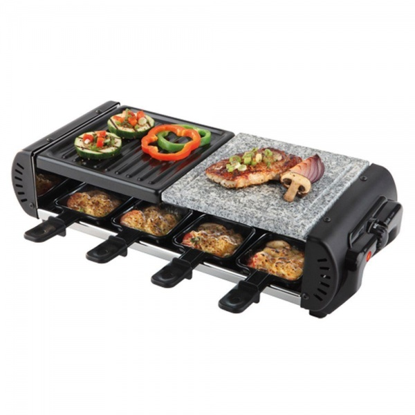 Elektro Raclette-Grill 11-teilig mit Natursteinplatte