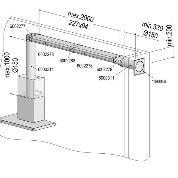 Berbel Abluft-Set III Flach 150 bT