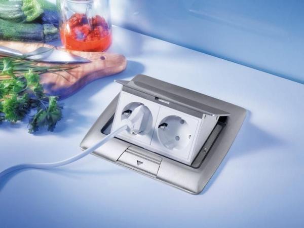 2 fach Küchen Steckdose Aluminium mit Deckel
